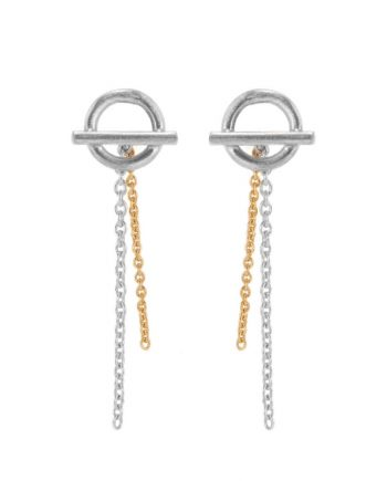 Sølv-ørestikker med kæde i guld