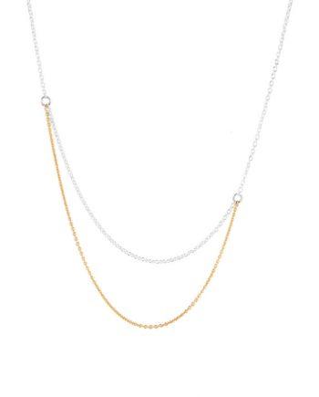 Sølvkæde med kæde af guld