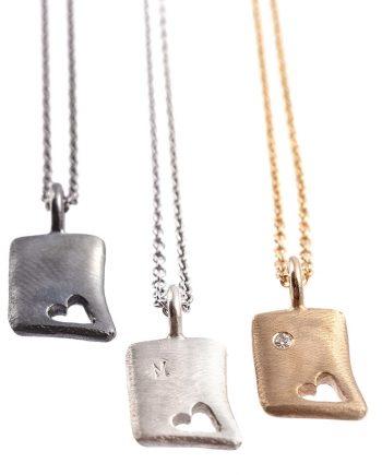 Love Square vedhæng i guld med diamant